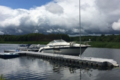 1000 Islands Docks Ltd. - Eastern Ontario - Residetial Floating Modular Dock Installation with Boat Image