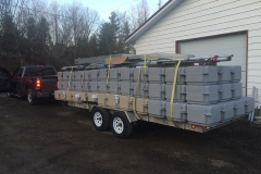 1000 Islands Docks Ltd. - Eastern Ontario - Trailer Loaded with Floating Modular Dock for Transport to Installation Site Image