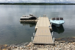 1000 Islands Docks Ltd. - Eastern Ontario - Residetial Floating Modular Dock Installation with Boat and Jet Ski Image