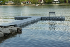 1000 Islands Docks Ltd. - Eastern Ontario - Large Residetial Floating Modular Dock Installation with Bench AccessoryImage